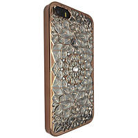 Чехол-накладка DK-Case силикон с хром бортом Diamond Lotos для Apple iPhone 5/5S (rose gold)