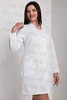 Женский медицинский халат на пуговицах белого цвета . Размеры 42-54