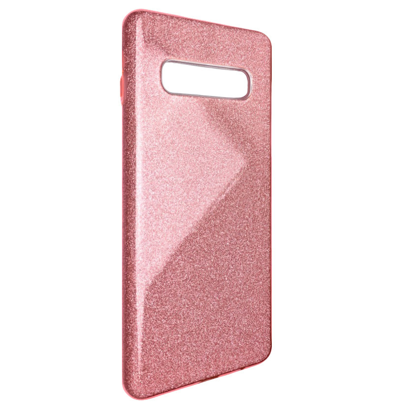 Чехол Silicone Glitter Heaven Rain Samsung S10 (light pink)