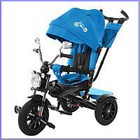 Детский трехколесный велосипед. С большой фарой и зеркалами. цвет Сине-Голубой. TILLY TORNADO T-383