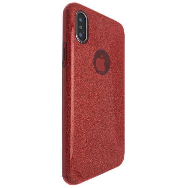 Чехол Silicone Glitter Heaven Rain Apple iPhone XS (red)