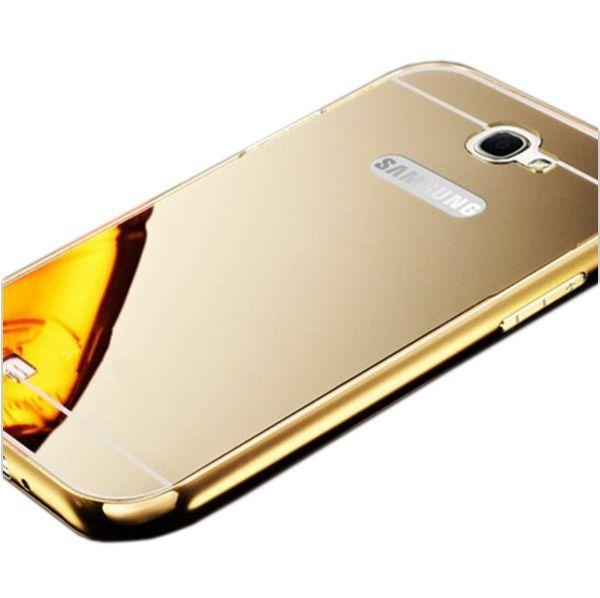 Чехол -бампер металл + Чехол зеркало SAMSUNG NOTE 2 (gold)