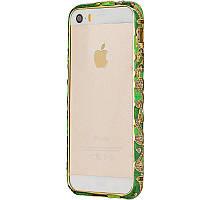 Чехол-бампер DK-Case металл керамика с камнями для Apple iPhone 5/5S (light green/green)