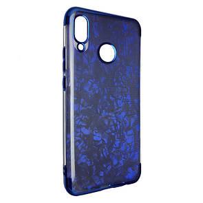 Чехол с хром бортом Edge Marble Huawei Nova 3 (dark blue)
