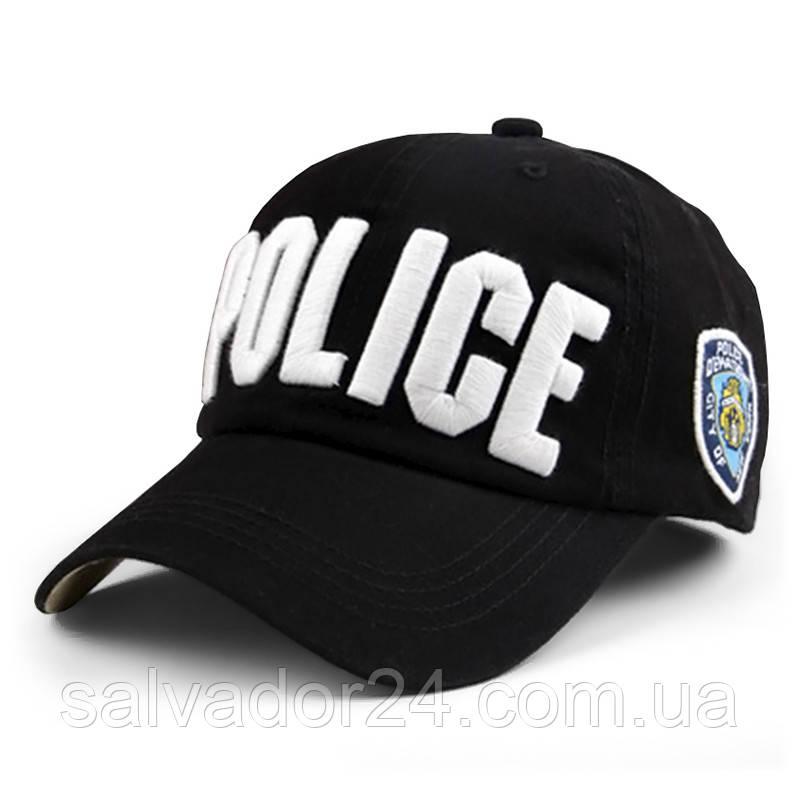 Бейсболка POLICE черная, кепка блайзер