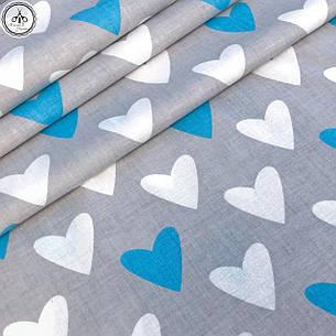 """Польская хлопковая ткань """"сердца белые голубые на сером"""", фото 2"""