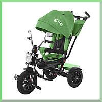 Детский трехколесный велосипед. С большой фарой и зеркалами. цвет Зеленый. TILLY TORNADO T-383.