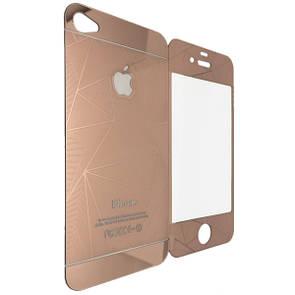 Защитное стекло  for Apple iPhone 4/4S diamond back/face rose gold