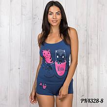 Синий комплект-двойка женский: майка и шорты Pink Secret Турция PK4328-8 S