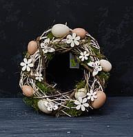 Венок пасхальный с сухоцветами и яйцами, фото 1