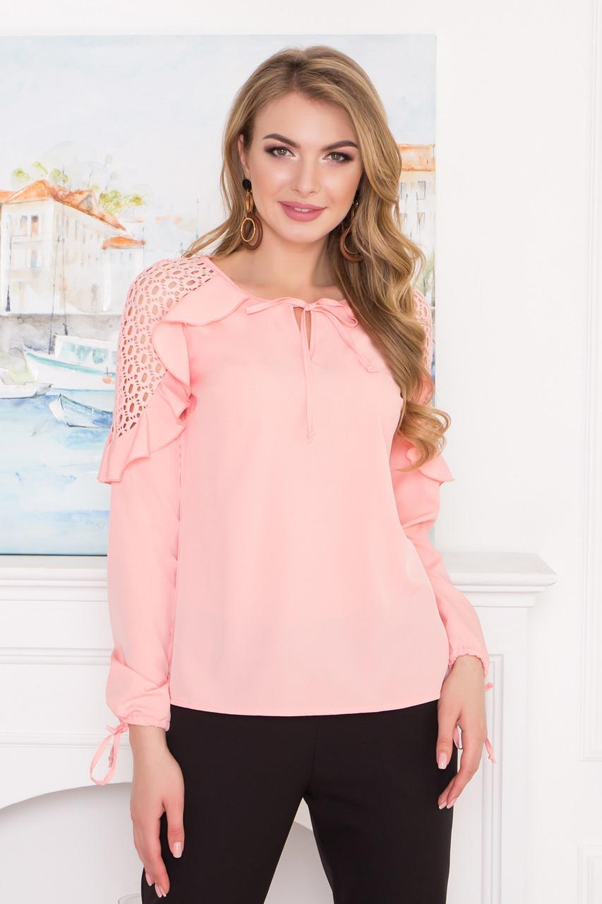 d088ebef1a2 Нарядная блузка с кружевом и рюшами светло-розовая - Интернет-магазин  одежды ALLSTUFF в