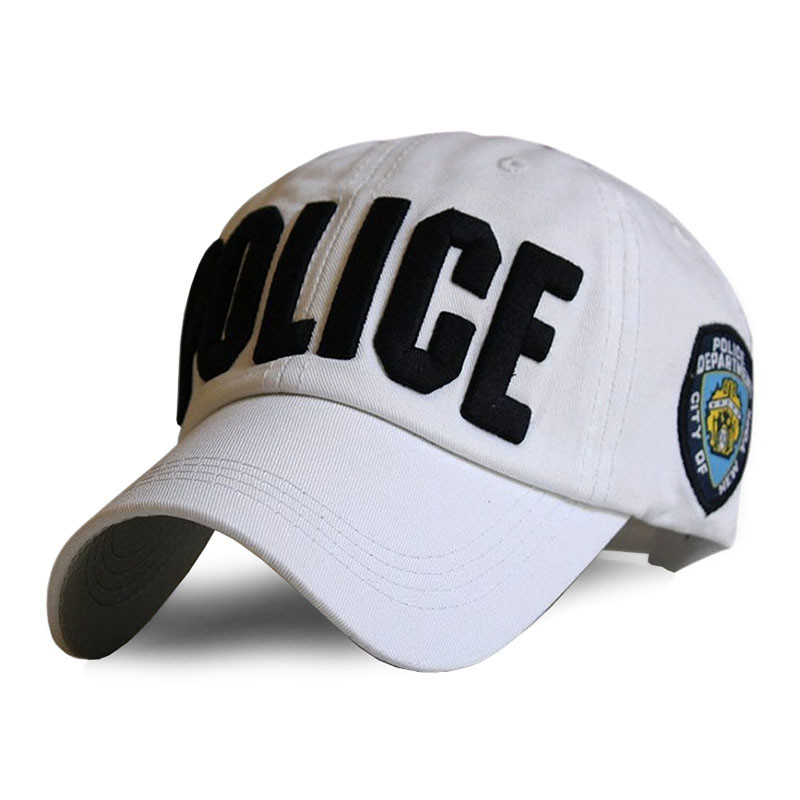 Бейсболка POLICE белая, кепка блайзер