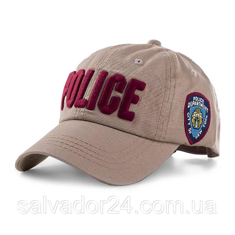 Бейсболка POLICE бежевая, кепка блайзер
