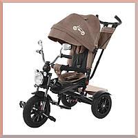 Детский трехколесный велосипед. С большой фарой и зеркалами. цвет Коричневый. TILLY TORNADO T-383