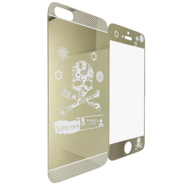Защитное стекло Apple iPhone 5/5S зеркало черепа back/face (gold)