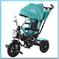 Трех колесный велосипед, детский. С большой фарой и зеркалами. цвет темно БИРЮЗОВЫЙ. TILLY TORNADO T-383