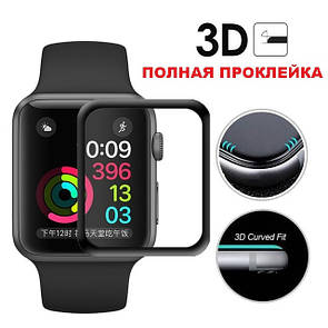 Защитное стекло  3D купол полный клей for Apple Watch 42mm face (black)