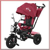 Трехколесный велосипед-детский. С большой фарой и зеркалами. цвет Бордовый. TILLY TORNADO T-383