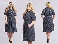 Женское платье большого размера №1206 (р.50-58) сине-белая полоска