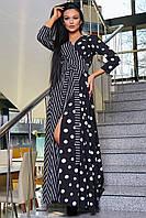 Длинное черное платьес крупным горохом и белой полоской