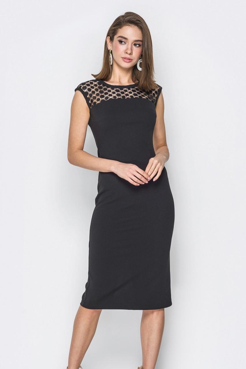 (S / 42-44) Вишукане чорне плаття з мереживом Akara
