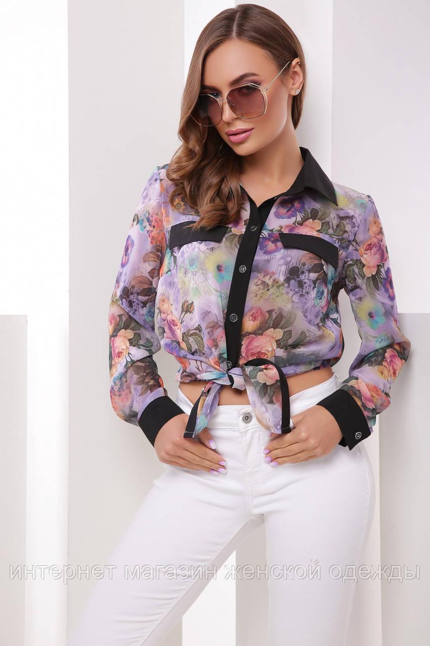 Сиреневая шифоновая блузка рубашка с длинным рукавом и цветочным принтом