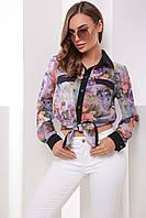 Сиреневая шифоновая блузка рубашка с длинным рукавом и цветочным принтом , фото 1