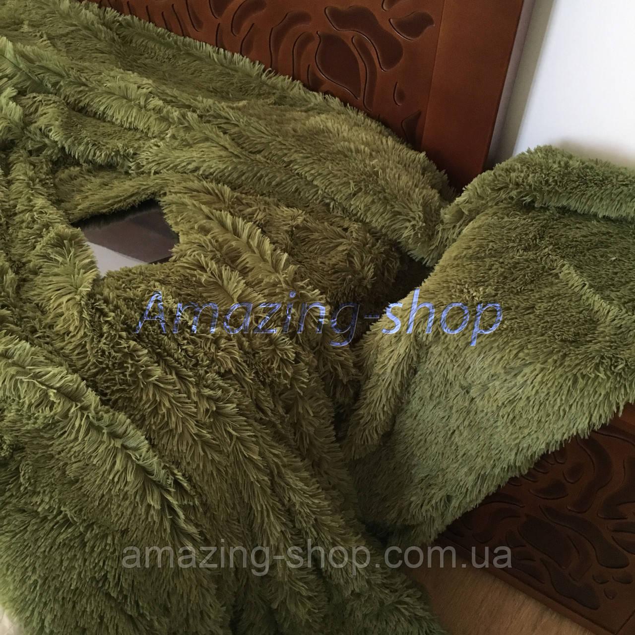 Покривало травичка | Пухнастий махровий плед. Koloco (колоко)- з довгим ворсом. 220х240. Колір Зелений