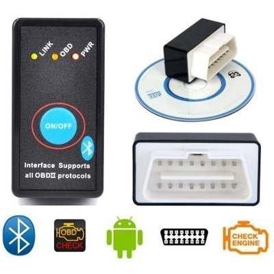 Сканер-адаптер для діагностики автомобіля з кнопкою ВИКЛ ELM327 v2.1 Bluetooth OBD 2