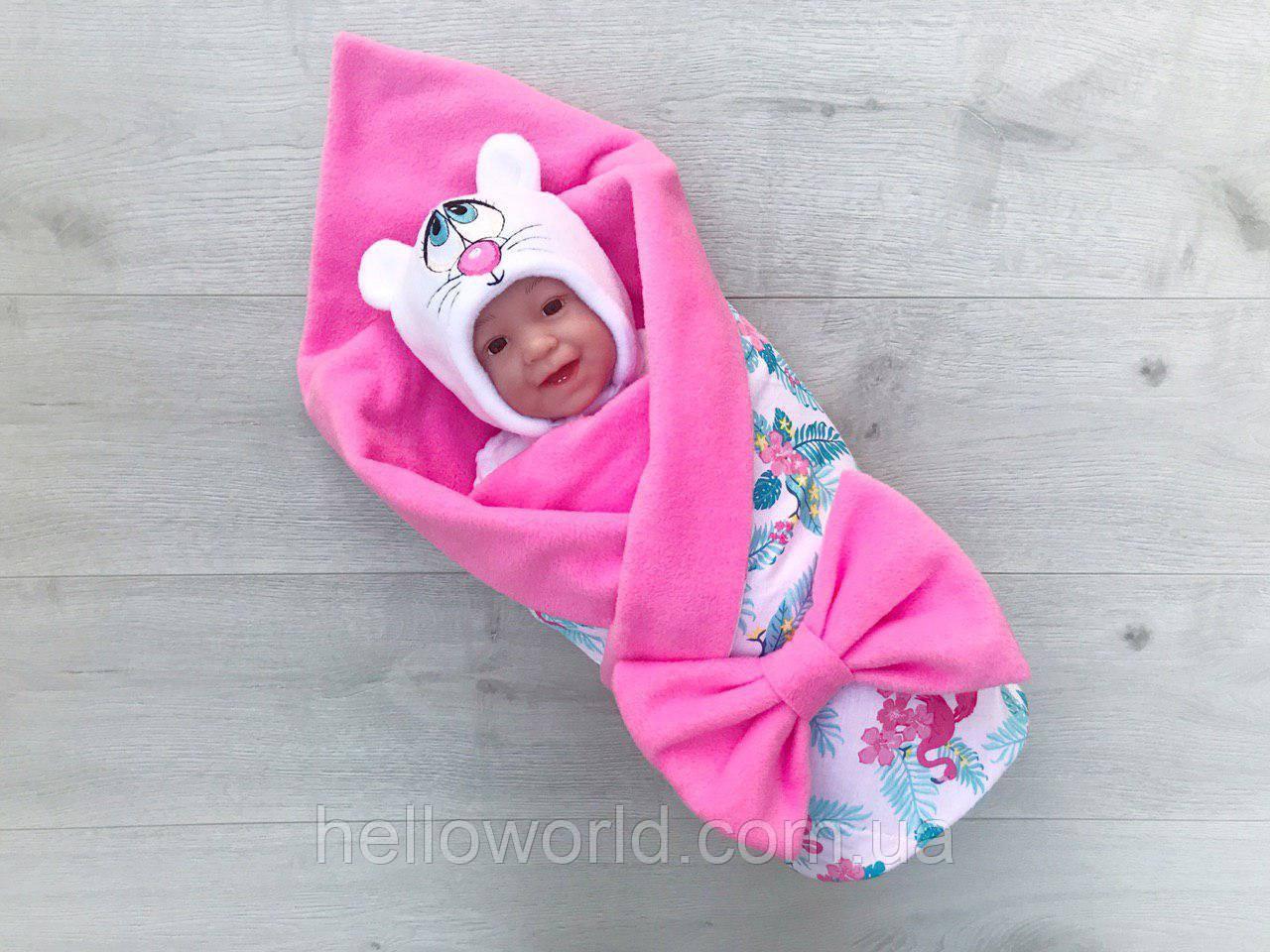 Плед-одеялка розовый фламинго