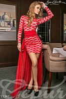 Женское мини платье по фигуре и длинного в пол шлейфа с длинным рукавом дайвинг