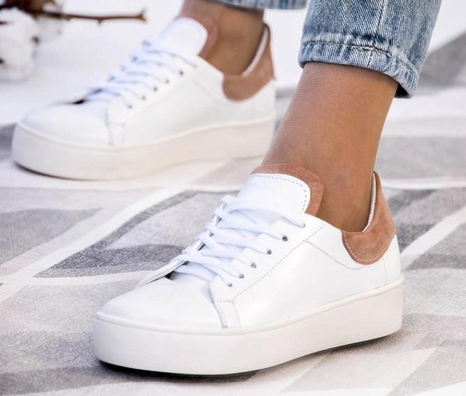 Кеды кожаные белые с замшевыми вставками женские