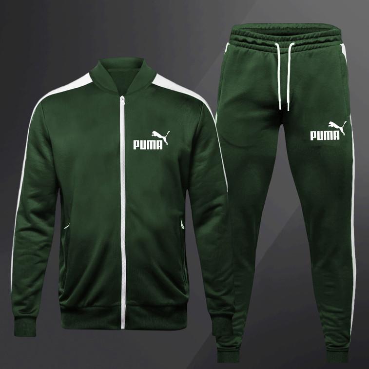 Спортивный костюм Puma (Premium-class) зеленый с полосками