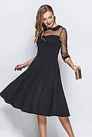 (S / 42-44) Вечірнє чорне плаття з сіточкою в горошок Blade