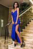 Женское вечернее платье на бретельках с крупным бантом на груди потайная молния сзади дайвинг