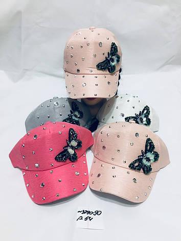 Річна кепка для дівчинки в стрази Метелик р. 54, фото 2