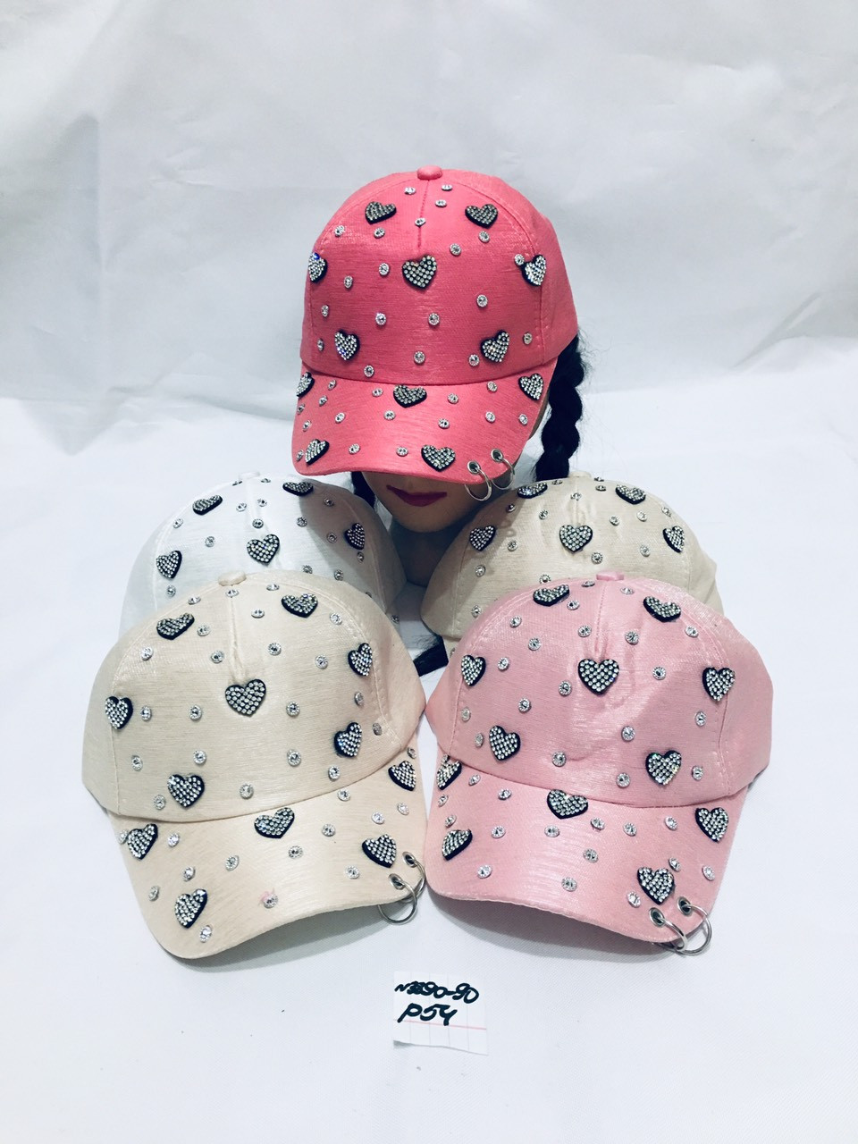 Летняя кепка для девочки в стразы Сердечки р.54