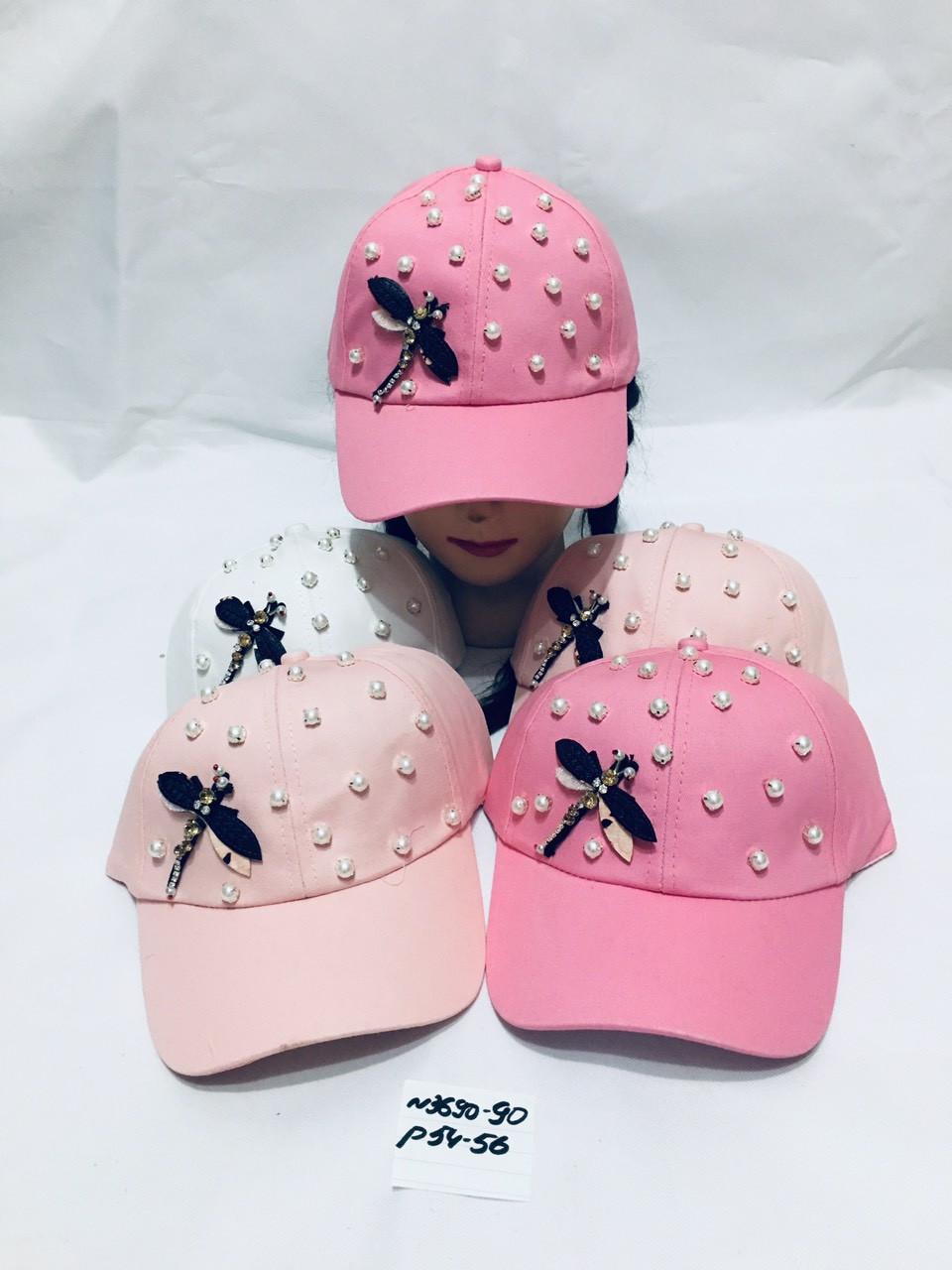 Летняя кепка для девочки в бусинку Стрекоза  р.54-56