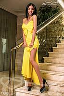 Женское вечернее платье на бретельках с крупным бантом на груди потайная молния сзади дайвинг , фото 1