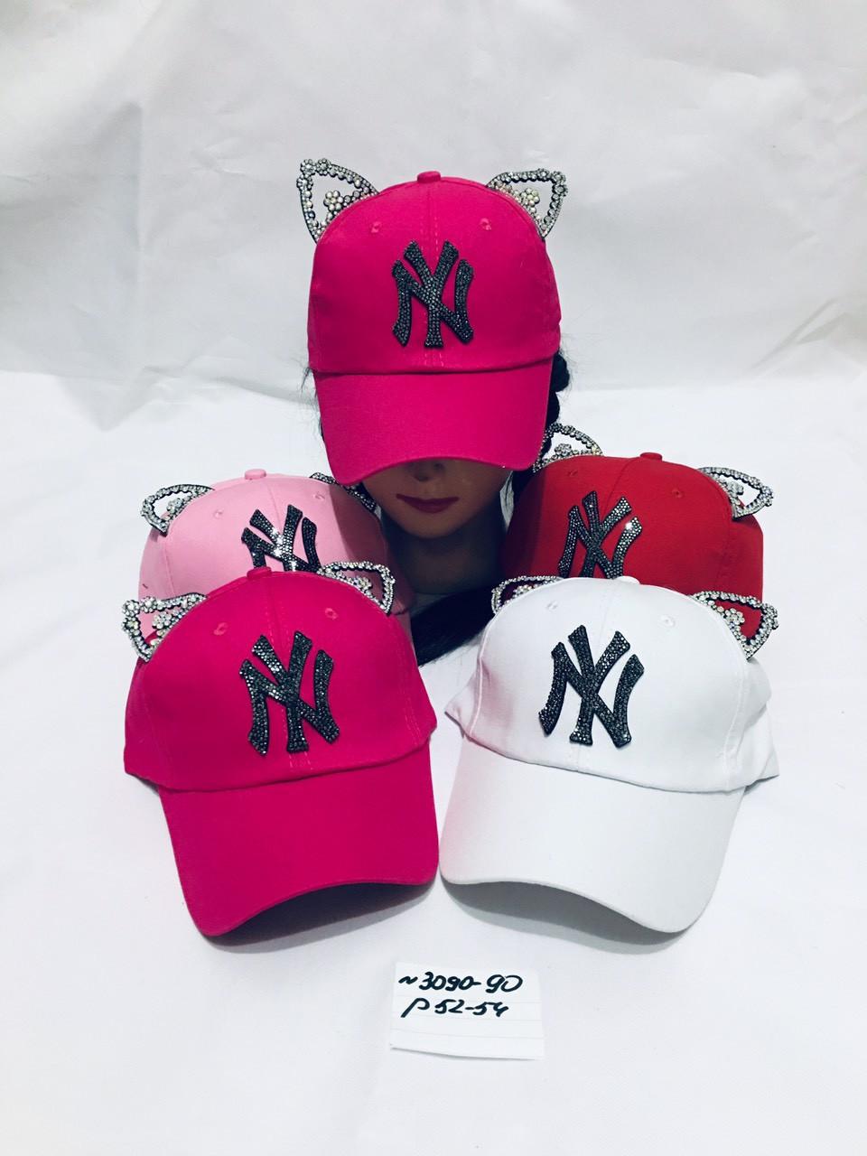 Річна кепка для дівчинки з вушками NY р. 52-54
