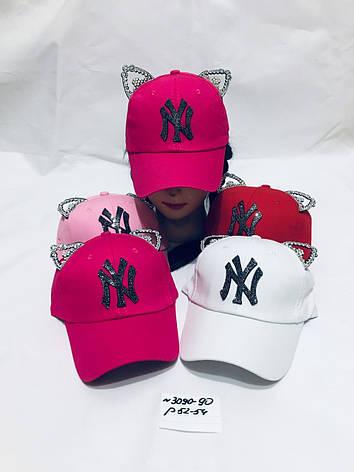 Річна кепка для дівчинки з вушками NY р. 52-54, фото 2