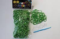 600 штук зелено-белых (зебра) резиночек для плетения