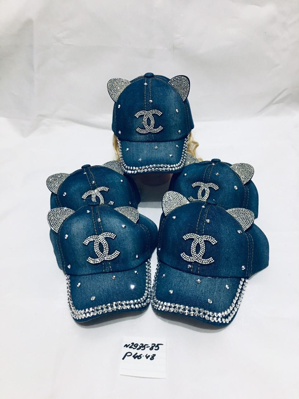 Джинсовая кепка для девочки с ушками Шанель  р.46-48