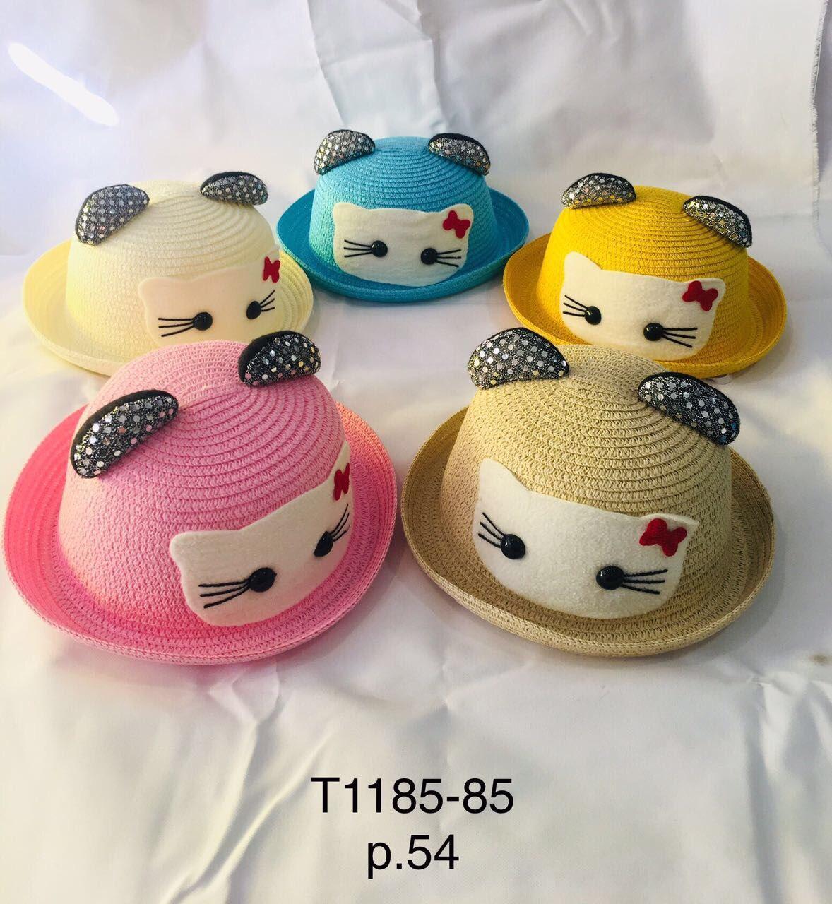 Річна капелюх для дівчинки з вушками Кітті р. 54 оптом