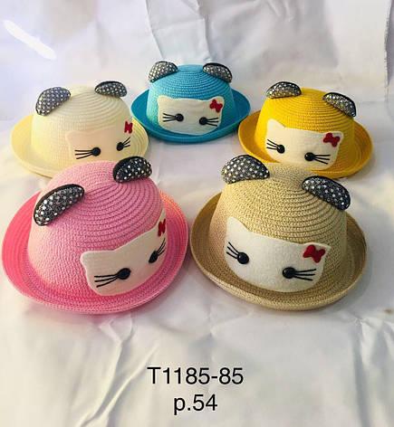 Річна капелюх для дівчинки з вушками Кітті р. 54 оптом, фото 2