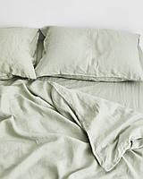 Льняное постельное белье евро цвет шалфей