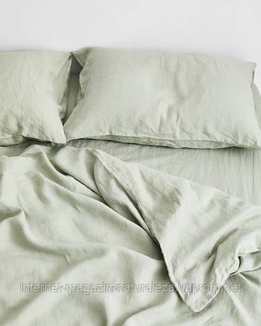 Льняное постельное белье евро цвет шалфей, фото 2