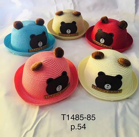 Летняя шляпа для девочки с ушками Медвежёнок  р.54 оптом, фото 2