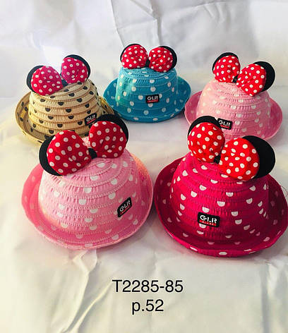 Річна капелюх для дівчинки з вушками Міккі р. 52 оптом, фото 2