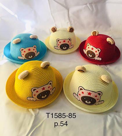 Летняя шляпа с ушками Мишка р.54 оптом, фото 2